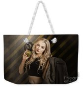 Gas Mask Pinup Girl In Nuclear Danger Zone Weekender Tote Bag