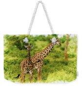 Mom Giraffe And Little Joey Weekender Tote Bag