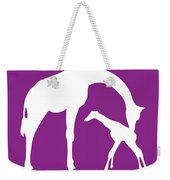 Giraffe In Purple And White Weekender Tote Bag