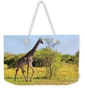 Giraffe On Savanna. Safari In Serengeti Weekender Tote Bag