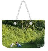 Girl And Dog On Trail Weekender Tote Bag