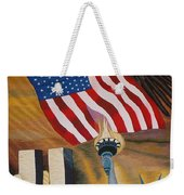 God Bless America Hand Embroidery Weekender Tote Bag