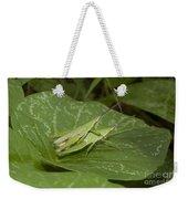 Grasshopper Mating On Grass Leaf Weekender Tote Bag