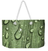 Green Leaf Abstract With Raindrops Weekender Tote Bag by Elena Elisseeva