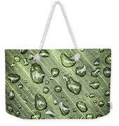 Green Leaf With Raindrops Weekender Tote Bag