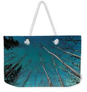 Green Swirls Of Northern Lights Over Boreal Forest Weekender Tote Bag