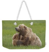 Grizzly Bear Playing With Cub Lake Weekender Tote Bag