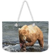 Grizzly Bear Salmon Fishing Weekender Tote Bag