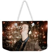 Groovy Retro Clubbing Guy At A Silent Trance Rave Weekender Tote Bag