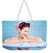Happy 60s Pinup Housewife On Blue Ironing Board Weekender Tote Bag