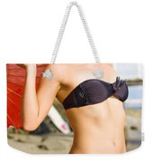 Happy And Excited Woman Jumping At Beach Weekender Tote Bag