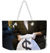 Happy Business Man Smiling With Money Bag Weekender Tote Bag