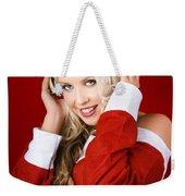 Happy Dj Christmas Girl Listening To Xmas Music Weekender Tote Bag