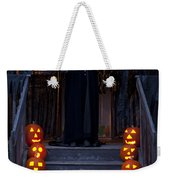 Haunted House With Lit Pumpkins And Demon Weekender Tote Bag