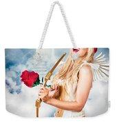 Heavenly Angel Of Love With Flower Arrow Weekender Tote Bag