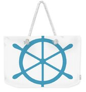 Helm In White And Turquoise Blue Weekender Tote Bag