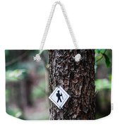 Hiking Trail Sign On The Forest Paths Weekender Tote Bag