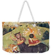 Hindu Goddess Durga Fights Mahishasur Weekender Tote Bag
