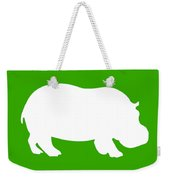 Hippo In Green And White Weekender Tote Bag