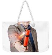 Hostile Male Office Worker Holding Flaming Bomb Weekender Tote Bag