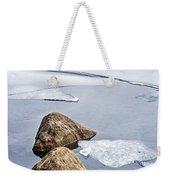 Icy Shore In Winter Weekender Tote Bag