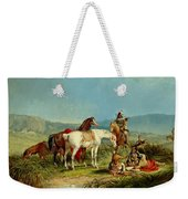 Indians Playing Cards Weekender Tote Bag by John Mix Stanley