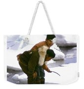 Inuit Boys Ice Fishing Barrow Alaska July 1969 Weekender Tote Bag