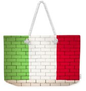 Italy Flag Brick Wall Background Weekender Tote Bag