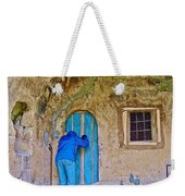 Knocking On A Blue Door Of Tufa Home In Goreme In Cappadocia-turkey  Weekender Tote Bag