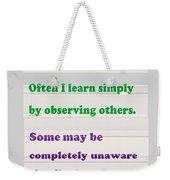 Learning Observation Teacher Student Gratitude Background Designs  And Color Tones N Color Shades Av Weekender Tote Bag