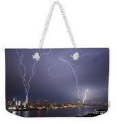 Lightening Over Manhattan Weekender Tote Bag
