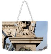 Lion Sculpture On Chain Bridge In Budapest Weekender Tote Bag