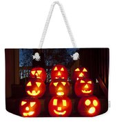 Lit Pumpkins With Demon On Halloween Weekender Tote Bag