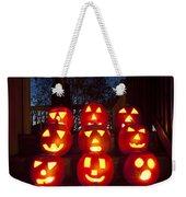 Lit Pumpkins With Demon On Halloween Weekender Tote Bag