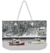 Lobster Boats After Snowstorm In Tenants Harbor Maine Weekender Tote Bag by Keith Webber Jr