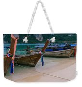 Longtail Boats Moored On The Beach Weekender Tote Bag