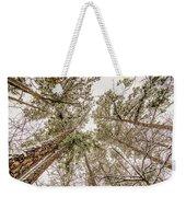 Looking Up At Snow Covered Tree Tops Weekender Tote Bag
