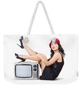 Lovely Asian Pinup Girl Posing On Vintage Tv Set Weekender Tote Bag