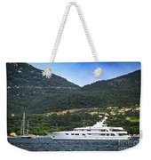 Luxury Yacht At The Coast Of French Riviera Weekender Tote Bag by Elena Elisseeva