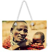 Maasai Baby Carried By His Mother In Tanzania Weekender Tote Bag