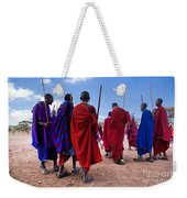 Maasai Men In Their Ritual Dance In Their Village In Tanzania Weekender Tote Bag