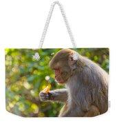 Macaque Eating An Orange Weekender Tote Bag