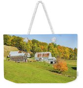 Maine Farm On Side Of Hill In Autumn Weekender Tote Bag