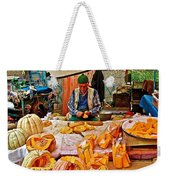 Man Peeling Squash In Antalya Street Market-turkey Weekender Tote Bag