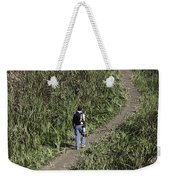 Man With A Canon Camera And Lens In Greenery Weekender Tote Bag