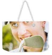 Man With Golf Club Weekender Tote Bag