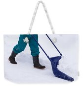 Manual Snow Removal With Snow Scoop After Blizzard Weekender Tote Bag