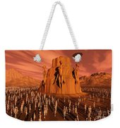 Martians Gathering Around A Monument Weekender Tote Bag