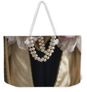 Medieval Or Tudor Woman Holding A Pearl Necklace Weekender Tote Bag
