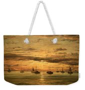 Mesdag's Sunset At Scheveningen -- A Fleet Of Shipping Vessels At Anchor Weekender Tote Bag